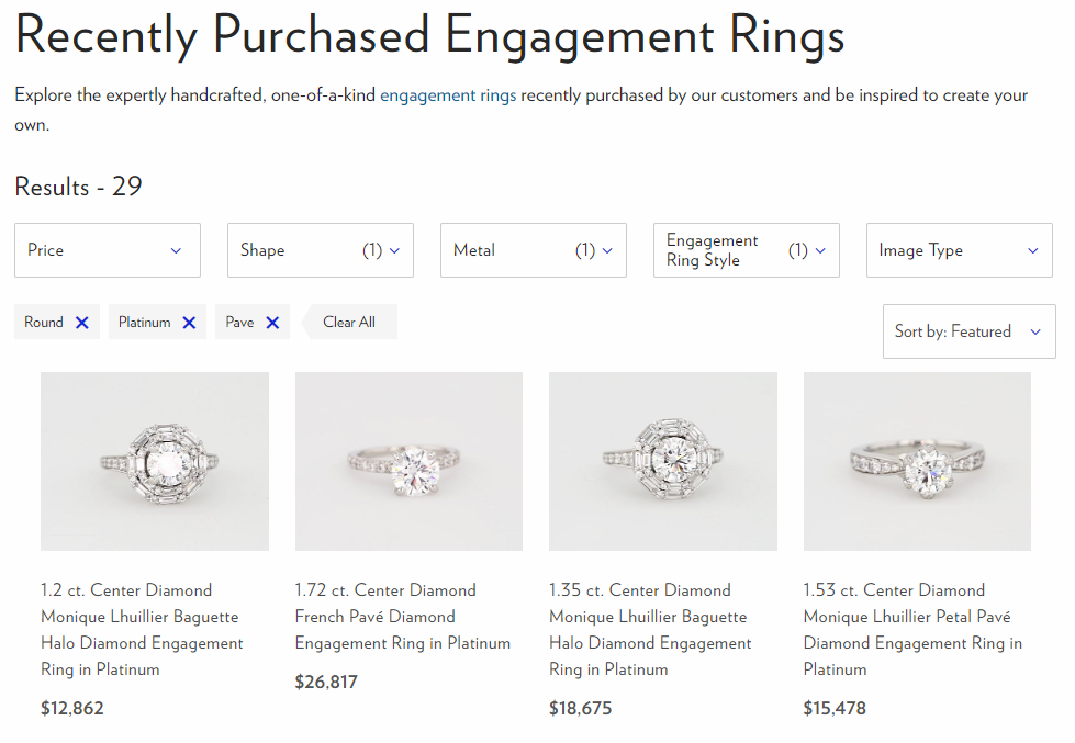 Blue Nile Recently Purchased Engagement Ring Feature